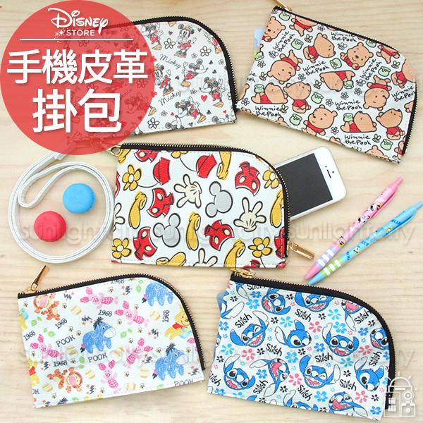日光城。迪士尼彩繪皮革手機掛包,iphone6手機包零錢包化妝包卡包收納包3C包米奇米妮史迪奇