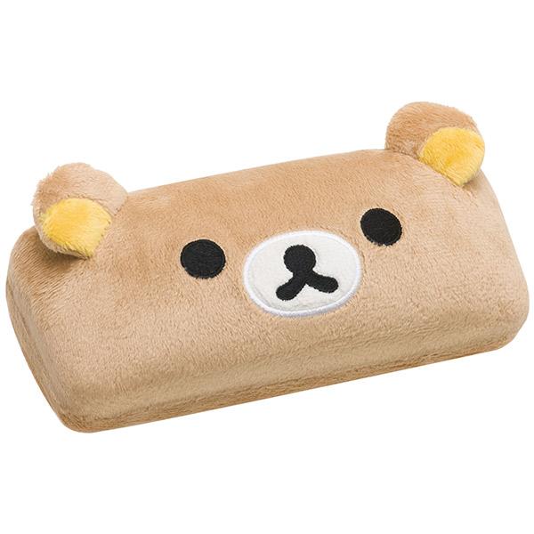 【真愛日本】16093000016  絨毛硬式眼鏡盒-大臉懶熊  SAN-X 懶熊  奶熊 拉拉熊   收納盒 眼鏡盒 置物盒