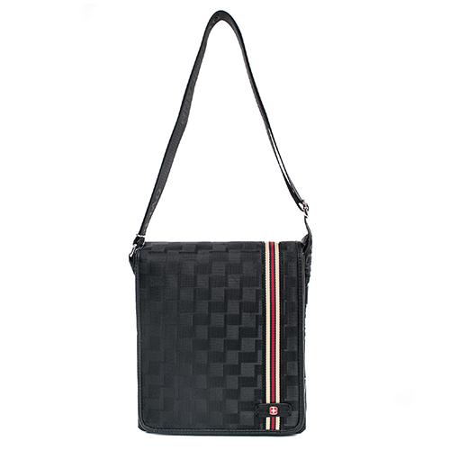 OVERLAND 美式線條設計格紋直式側背包-3057大