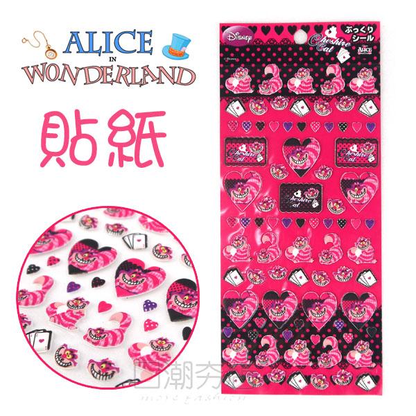 [日潮夯店] 日本正版進口 DISNEY 迪士尼 ALICE 愛麗絲  妙妙貓 裂嘴貓 立體 泡棉 裝飾 貼紙