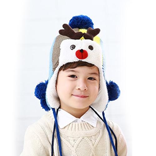 Kofairy◆秋冬保暖時尚可愛麋鹿造型毛球麻花辮兒童毛絨帽-藍色