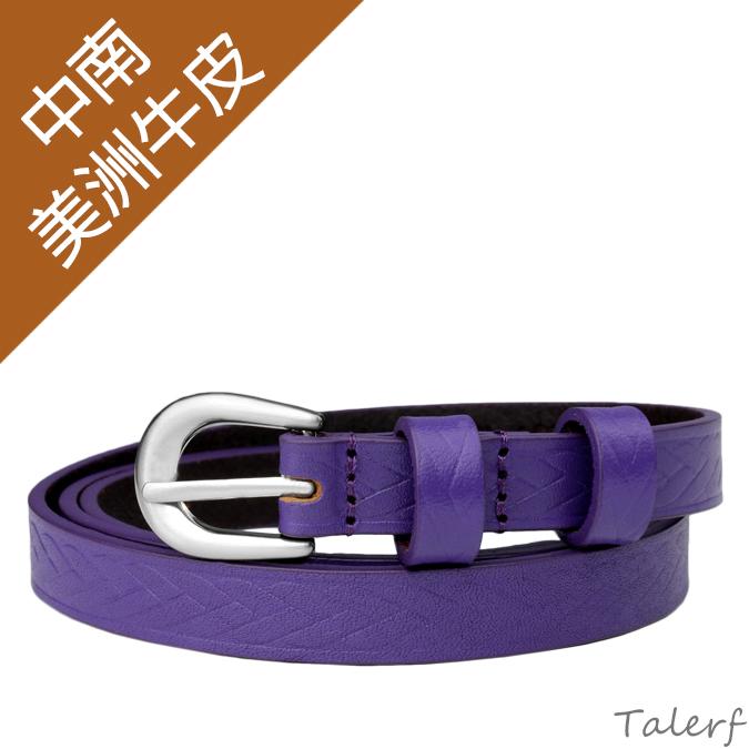 女用甜美細版百搭流行真皮皮帶(紫色)→現貨