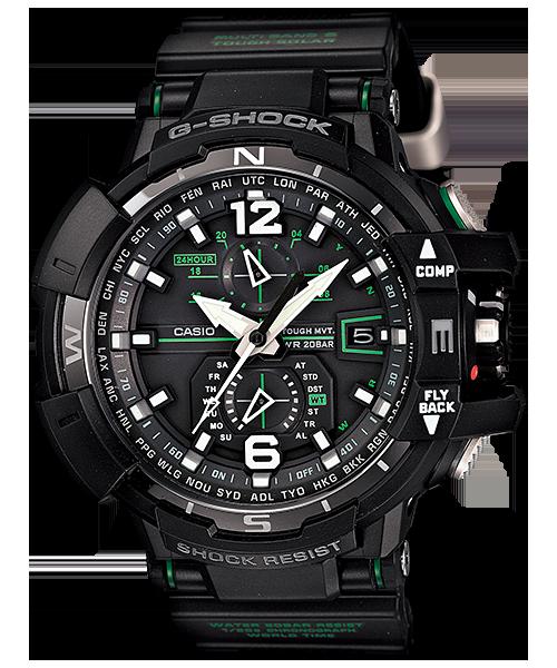 國外代購 CASIO G-SHOCK GW-A1100-1A3 飛行表 雙顯 運動防水手錶腕錶電子錶男女錶 黑綠