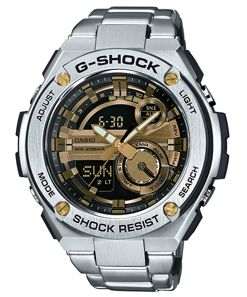 國外代購 CASIO G-SHOCK GST-210D-9A 雙顯大錶面  運動防水手錶腕錶電子錶男女錶 金銀