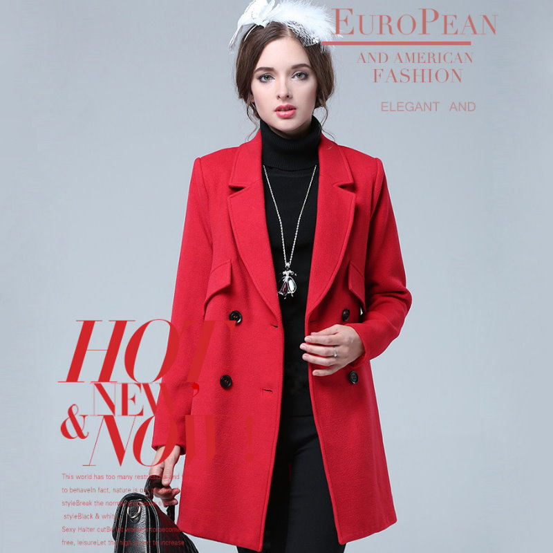 A2-304 歐美大尺碼 時尚OL大紅毛呢西裝軍裝外套大衣 XL~5XL