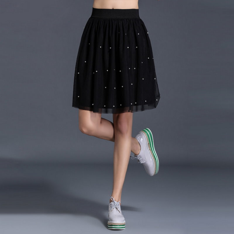 大尺碼 歐美時尚可愛鑲鑽蓬蓬飄逸短裙XL~5XL【紐約七號】A2-439