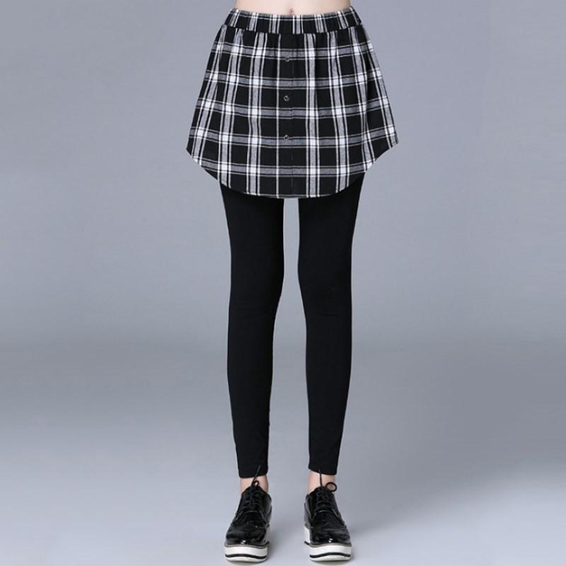 大尺碼 歐美秋季時尚拼接黑白格子襯衫假兩件式內搭褲XL~5XL【紐約七號】A2-568