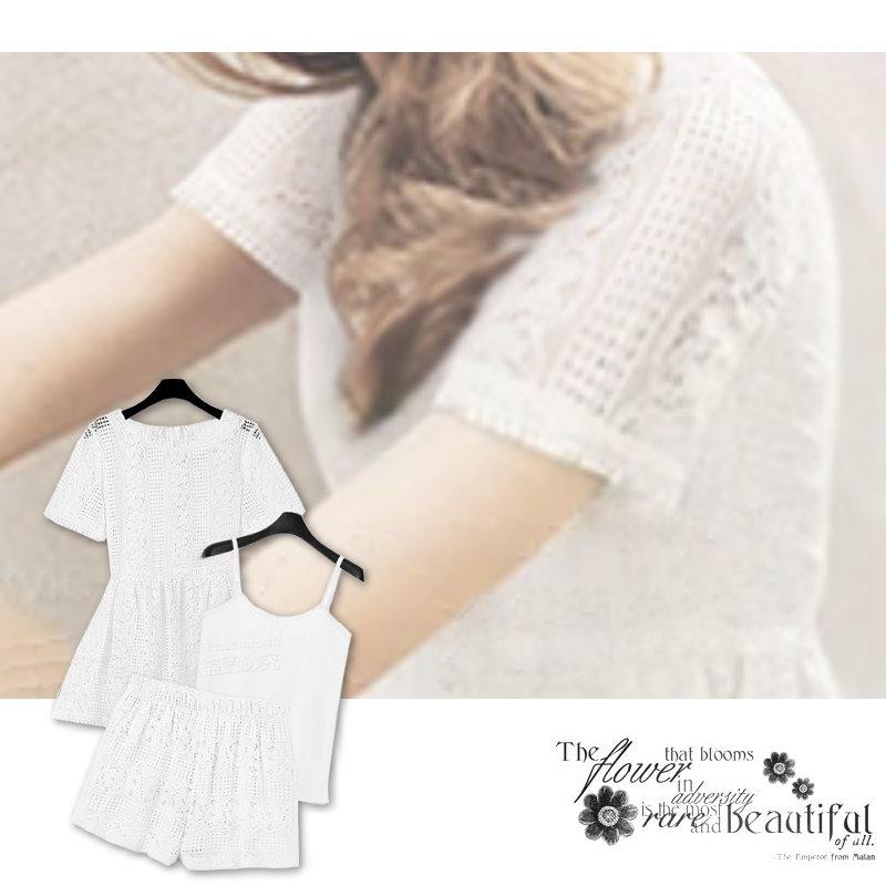 【紐約七號二館】LG-065 非正韓 歐美大尺碼 時尚蕾絲鏤空三件式套裝洋裝連衣裙短褲 S~XL