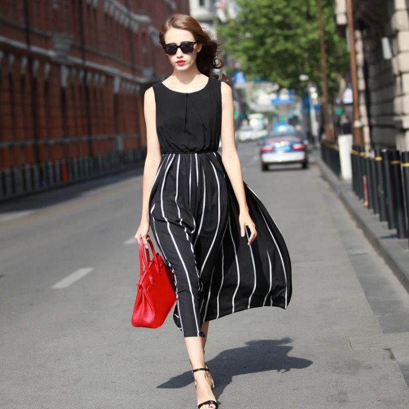 【紐約七號二館】LG-084 歐美大尺碼 時尚直條紋圓領無袖雪紡連身裙洋裝 S~XL