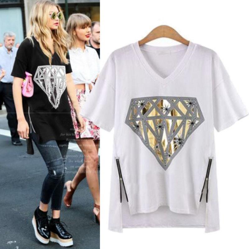 大尺碼 歐美休閒閃亮鑽石印花T恤上衣2色XL~4XL【紐約七號】LG-186