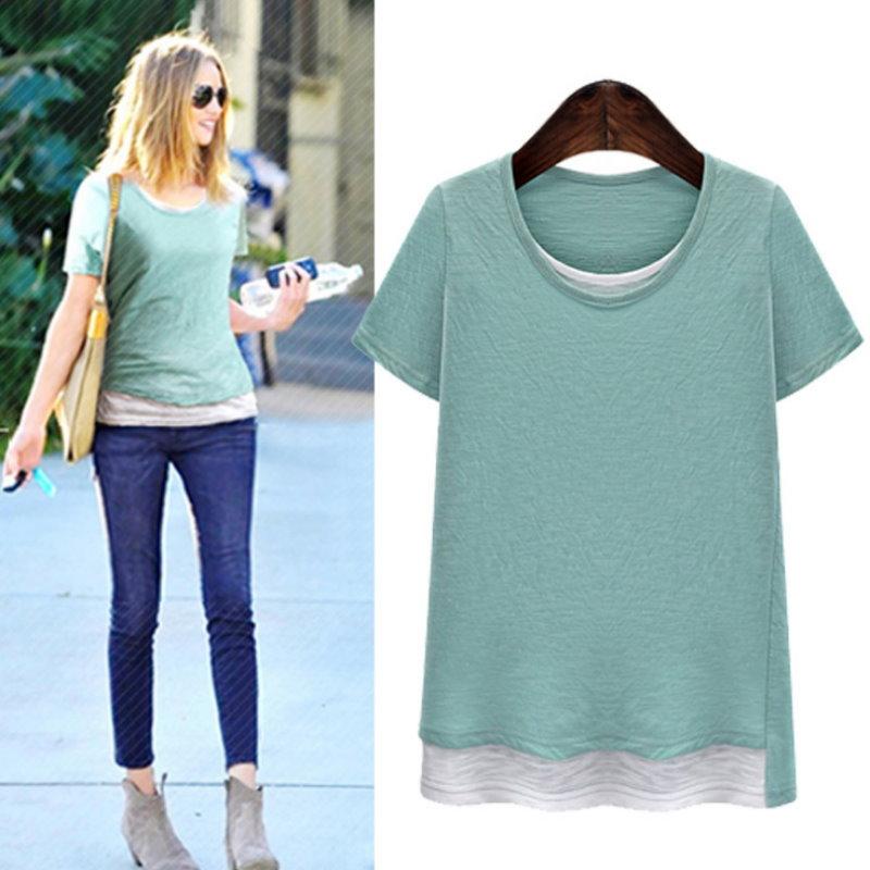 大尺碼 歐美休閒假兩件式素色純棉T恤2色XL~5XL【紐約七號】LG-189