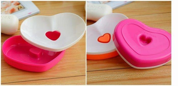 心心相印肥皂盒/雙層愛心香皂盒/瀝水肥皂盒 (不挑色) ☆真愛香水★