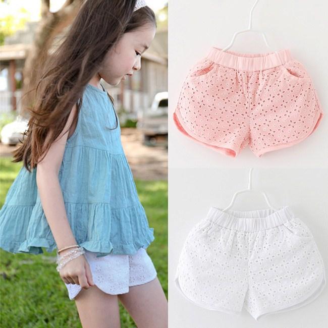 【貝貝樂SHOW】夏季女童鏤空提花圓角短熱褲~白色、粉色