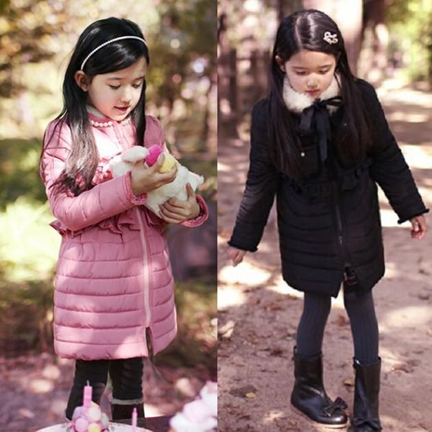 ★貝貝樂SHOW★冬季甜美公主保暖羊羔絨毛鑲珍珠圓領防風~[長版大衣]~桔粉色、黑色