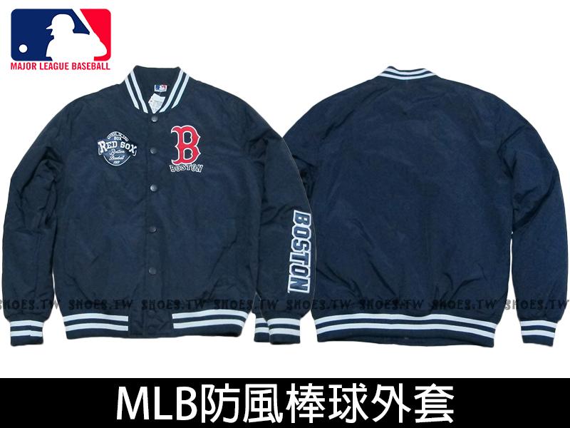 Shoestw【5560702-580】MLB 美國大聯盟 棒球外套 排釦 紅襪 深藍色 柔軟布