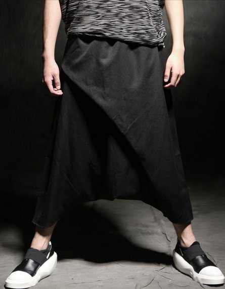 韓國低檔 休閒褲 褲裙 穿搭 哈倫褲吊襠褲跨褲男士時尚個性休閒褲 飛鼠褲 寬褲