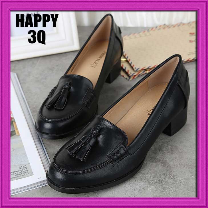 英倫復古學院風流蘇中跟粗跟牛津鞋女鞋子-黑38-41【AAA0819】
