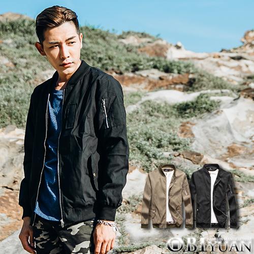 MA-1飛行外套【SF50201】OBI YUAN 韓版素面手臂拉鍊設計軍裝夾克薄外套共2色