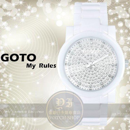 GOTO林逸欣代言星鑽系列閃亮陶瓷腕錶-白/39mm GC0360B-22-221公司貨/禮物/情人節