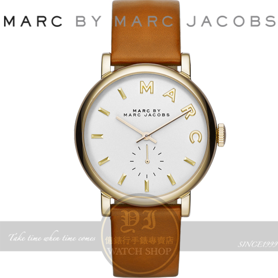 MARC BY MARC JACOBS國際精品Baker經典復古小秒針腕錶金框x咖啡/36mm MBM1316公司貨