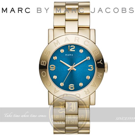 MARC BY MARC JACOBS國際精品色彩潮流時尚腕錶-藍x金/36mm MBM3303公司貨 聖誕節/生日禮