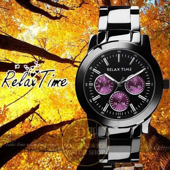 Relax Time關詩敏代言經典三眼錶款-紫/黑/38mm R0800-16-03公司貨/MIT/原創設計