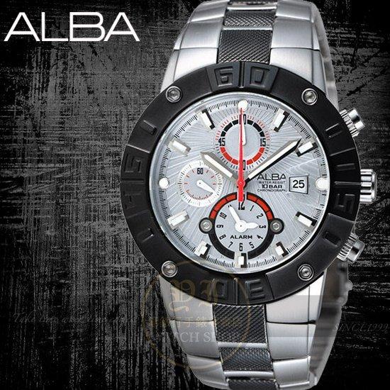 ALBA彭于晏代言極限挑戰兩地時間鬧鈴腕錶-銀灰/50mm 公司貨YM62-X158S/AF3C67X