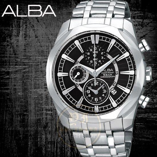 ALBA彭于晏代言FLAGSHIP尊爵時尚計時腕錶-38mm/黑 AF8M39X/YM92-X148D公司貨
