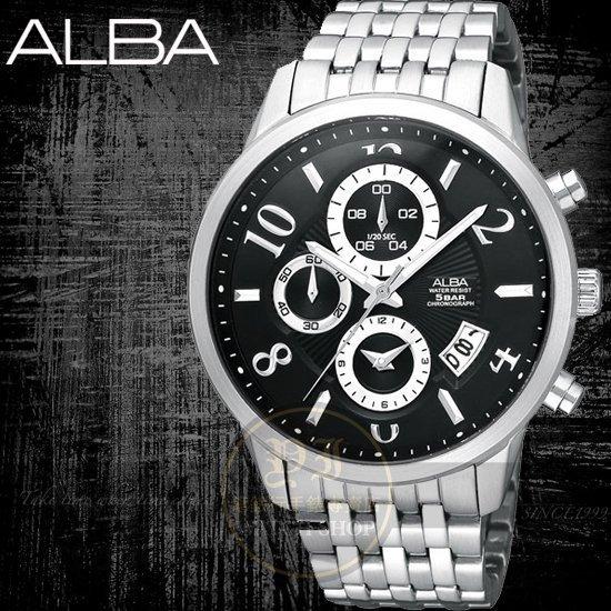ALBA彭于晏代言PRESTIGE經典三眼計時腕錶-黑/41mm 公司貨YM92-X179D/AF8N85X
