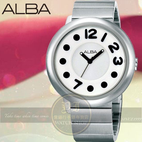 ALBA LOVE豆豆系列時尚鋼帶腕錶-白/黑/38mm VJ21-X029S公司貨/禮物/聖誕節