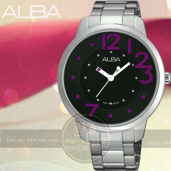ALBA 楊祐寧代言Lady 愛戀時尚腕錶-黑x紫/38mm/VJ21-X033R公司貨/禮物/情人節