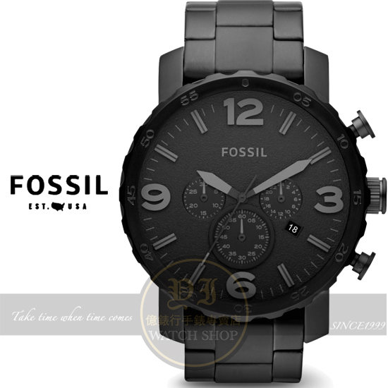 FOSSIL美國品牌創世紀戰神三眼計時腕錶-IP黑/50mm JR1401公司貨/生日禮物/聖誕節