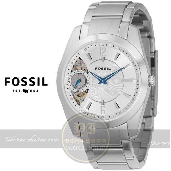 FOSSIL美國品牌Twist 雙機芯時尚鋼帶腕錶-銀ME1000公司貨/禮物/絕版品