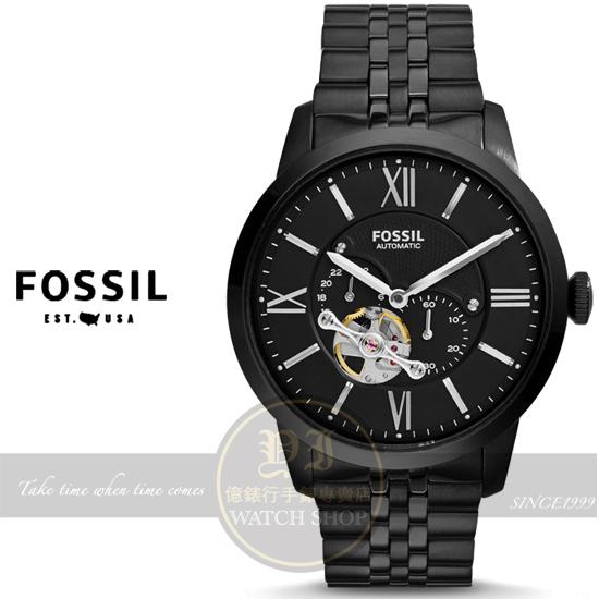 FOSSIL美國品牌Townsman Automatic系列復古紳士機械腕錶-IP黑/43mm ME3062原廠公司貨