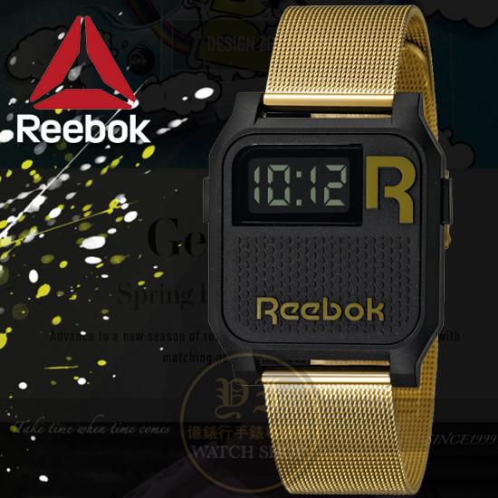 Reebok運動潮流品牌VINTAGE-NERD系列復刻腕錶-黑金/35mm RC-VNE-U9-PBS2-B2公司貨
