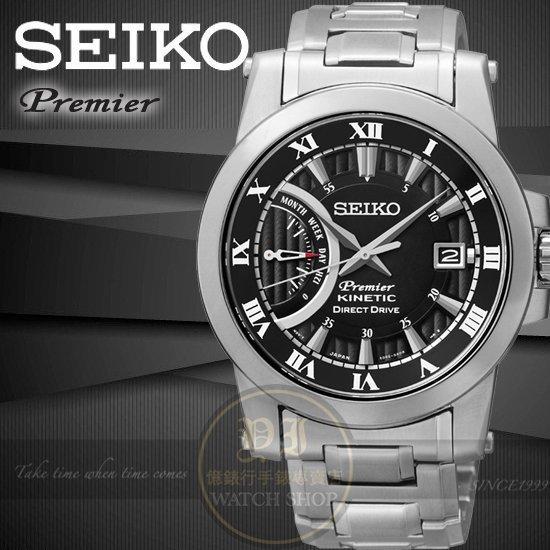 SEIKO日本精工王力宏代言PREMIER人體動能商務腕錶-黑/41mm 5D22-0AD0D/SRG009J1公司貨