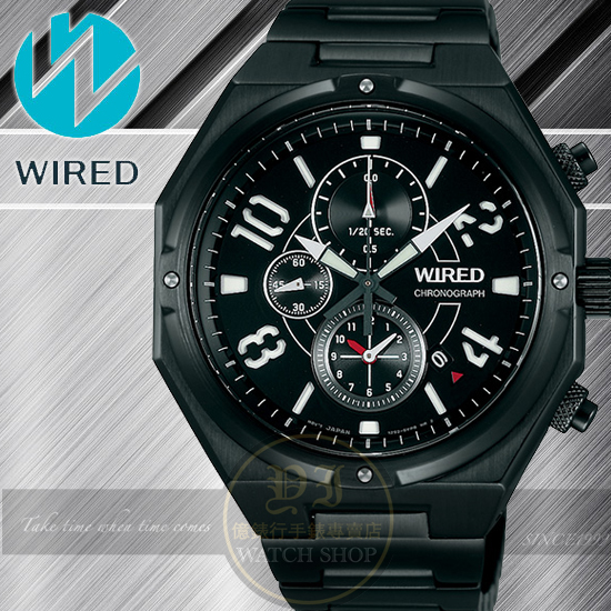 WIRED日本原創RIGID武士戰神計時腕錶-IP黑/44mm 7T92-X254SD/AF8R75X1公司貨/柯有倫