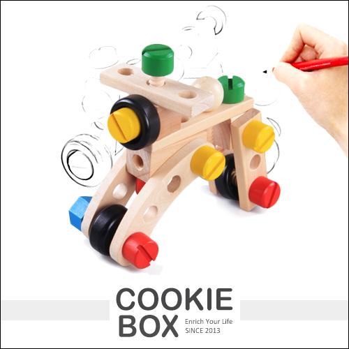 30粒 百變 螺母車 木質 安全 無毒 兒童 教育 益智玩具 組裝 汽車 多種玩法 *餅乾盒子*