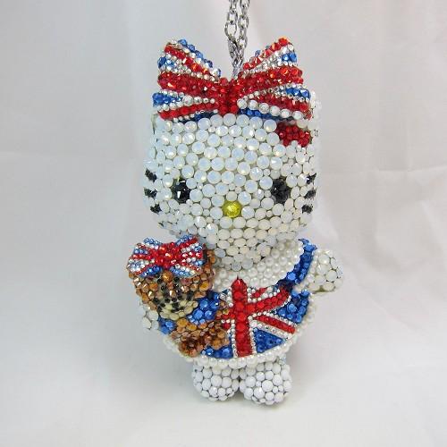 Hello kitty限量版英國國旗娃娃 吊飾 公仔 (花兒飾品)