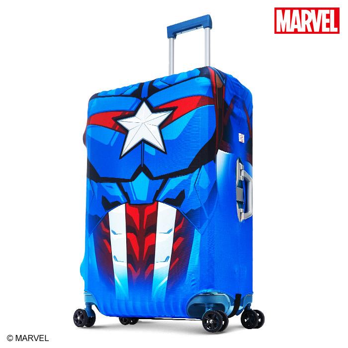 【加賀皮件】DESENO Marvel 漫威英雄造型 3D 防刮彈性 旅行箱保護套 行李箱套 美國隊長 M號(24-25吋) 0003