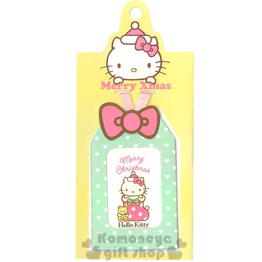 〔小禮堂〕Hello Kitty 造型聖誕小吊卡《綠.愛心.聖誕襪.小熊.大臉》附信封