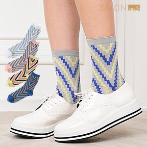 ★NEW★ 靴下屋Tabio 幾何圖案中筒襪