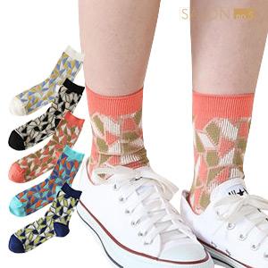 ★NEW★ 靴下屋Tabio 瓷磚圖案提花中筒襪