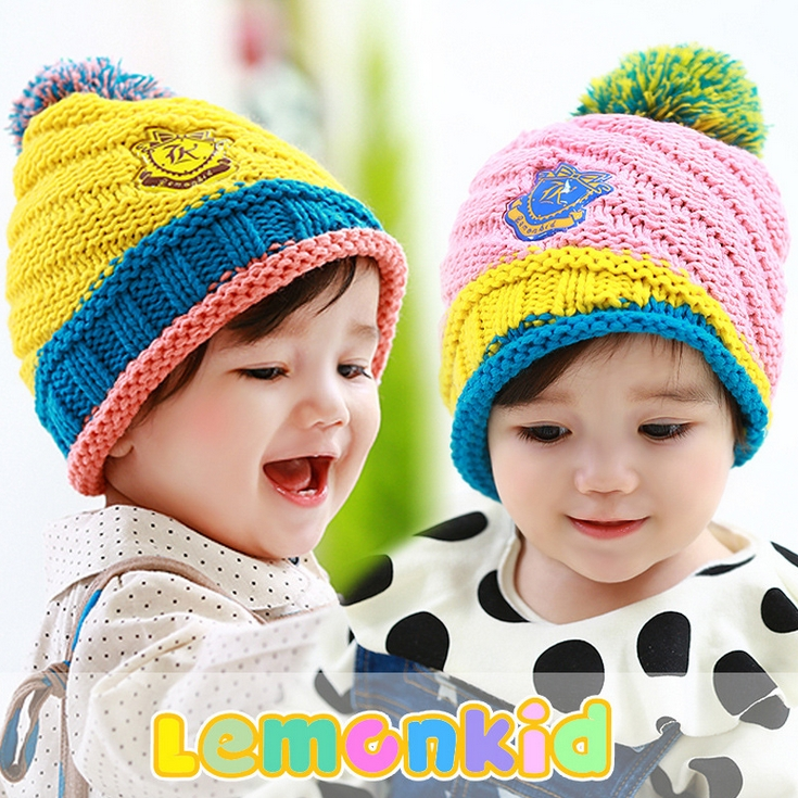 Lemonkid◆秋冬可愛彩色毛球亮眼糖果配色徽章兒童編織毛線帽