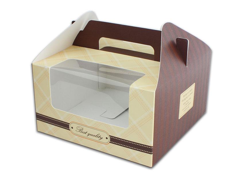 外帶盒、包裝盒、手提盒  4格提盒 MS-4-C(咖色黃格)5 pcs附底托