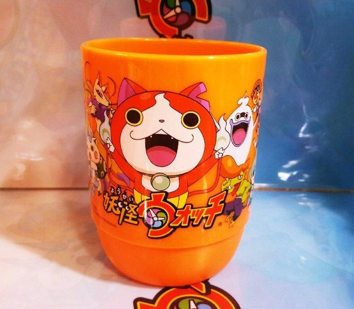 【真愛日本】16030400027 圓弧水杯350cc-妖怪橘 妖怪手錶 吉胖喵 水杯 塑膠水杯 漱口杯 生活用品