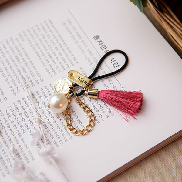PS Mall 韓版復古珍珠流蘇珍珠鏈條金屬個性髮圈皮筋頭繩 韓版髮飾紮髮繩【G2288】
