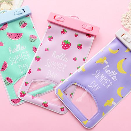 可愛水果圖案手機防水袋 通用款 掛繩 觸控包 防水套 手機保護套【N201912】