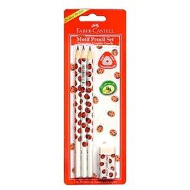 【輝柏 Faber-Castell】瓢蟲三角鉛筆3支+橡皮擦 #118365