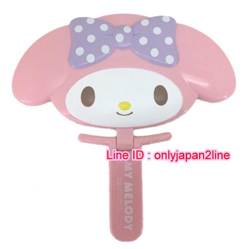 【真愛日本】16101100002頭型手拿鏡-MM點點紫結    三麗鷗 Melody 美樂蒂 隨身鏡 鏡子 正品